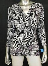 CHAUS Black/White Zebra Print Gathered V-Neck 3/4 Sleeve Stretch Blouse sz M