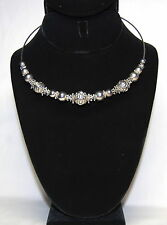 Vintage Shiny Pattern Embossed Silver Tone Snowflake Beads Solid Wire Choker
