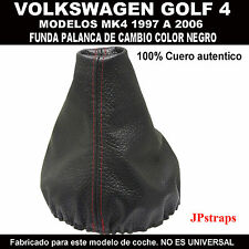 VOLKSWAGEN GOLF Mk4 1997-2006 FUELLE CAMBIO DE MARCHAS PIEL Doble cosido en Rojo