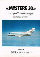 PUBLICITE  1973   MYSTERE  30  avion Biréacteur lycoming