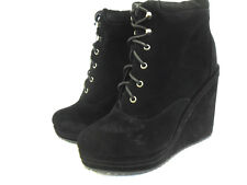 NEW LADIES WOMENS BLACK FAUX SUEDE LOOK WEDGE LACE ANKLE SHOE BOOTS  GRIP SIZE