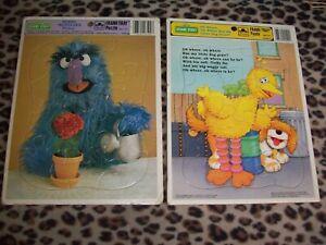 2 Vtg Sesame Street Kids Frame Tray Puzzle Big Bird Herry Monster Cardboard Toy