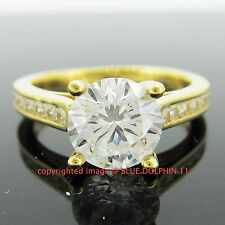 Real Genuine Solid 9k Yellow Gold Engagement Wedding Ring Simulated Diamonds