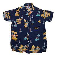 Vintage Duke Kahanamoku by Cisco Hawaiian Shirt Size Medium Sailboat Palm Trees