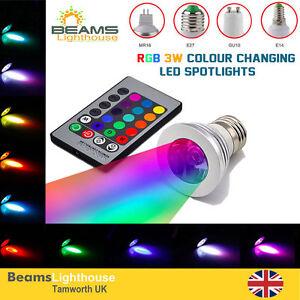 Colour Changing MR16 GU10 E14 E27 B22 RGB LED IR Remote Control Spotlight Bulbs