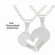 Personalised Best Friend Heart 2 Necklace Pendant name Engraved birthday Gift UK