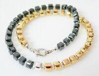 Würfelkette Halskette Collier Hämatit Perlen schwarz gold Würfel silber 225c