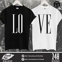 LOVE T Shirt Top Couple Matching Girlfriend Boyfriend Gift Present Dope Awesome