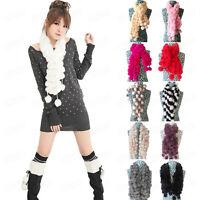 Winter Womens Fashion Scarf Rabbit Fur Warm Scarves Casual Ball Velvet Scarf