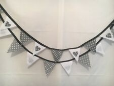 Grey Mini BUNTING 8.5ft Silver White Hearts Dots Nursery Wedding  Baby  Flag