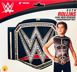 """WWE Kids Costume Top shirt """"SETH ROLLINS"""" with attached championship belt"""