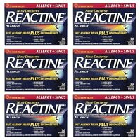 6 x Reactine Complete Sinus and Allergy 30 Tablets, 180 Total Fast Free Shipping