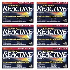 6 x Reactine Complete Sinus and Allergy 30 Tablets, 180...