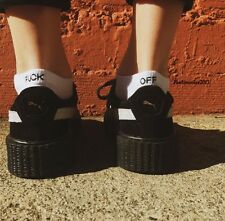 Brandy Melville White Ribbed Knit  F-off Ankle Socks