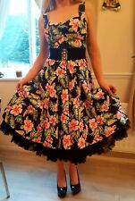 Prohibido Apparel 1950s Rockabilly Swing Dress XS Talla 8 Negro Con Flores
