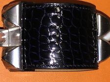 New HERMES Bracelet CDC Crocodile Leather Marine Blue Silver Palladium Hardware