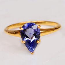Natural Blue Tanzanite Real 14KT Yellow Gold Pear Shape 1.40CT Anniversary Ring