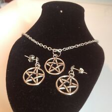 pentagram necklace and matching stud earrings silver plated