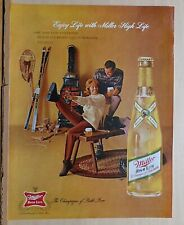 1962 magazine ad for Miller High Life Beer - Skiers enjoy life with beer