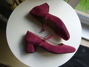 CLARKS NARRATIVE DUSKY PINK SUEDE MARY JANE SHOES BLOCK HEEL SIZE 6 D.