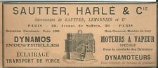 Publicité 1910 SAUTTER Dynamo moteur à vapeur Exposition Universelle 1889