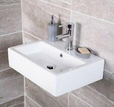 Large Rectangle Basin  Wall Mounted / Counter Top Sink Basin White Ceramic   NEW