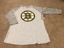 Boston Bruins NHL Women's Majestic Gray Raglan 3/4 Long Sleeve Shirt - Large
