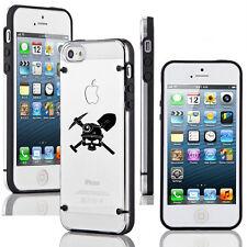 For Apple iPhone SE 5 5s 6 6s 7 Plus Slim Clear TPU Hard Case Coal Miner Skull