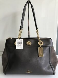 New Coach Women's Turnlock Edie Carryall Mixed Suede &  Leather Handbag Chestnut