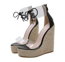 Wedge High Heel Platform Sandals Women Ankle Strap Open Toe Lace Up Shoes Beach