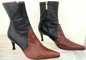 SERGIO ROSSI Black + Brown Leather Ankle Boots Heels Size 36.5 #16379