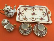 Doll Display Tea Set Porcelain Floral Gold Trim 10 Pieces 9 Inch Tray New in Box