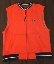 Vintage Tommy Jeans Hilfiger zip up vest SPELL OUT size L orange