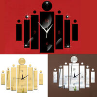 UK 3D Art Design Acrylic Mirrored Digital Wall Clock Home Office Study Decor DIY
