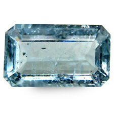 5.40Cts Natural Aquamarine Blue Color Unheated Emerald Cut Nice Brazil Gemstone