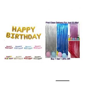 Happy Birthday Balloons Foil Curtain Backdrop Rose Gold Silver Blue Fringe Party