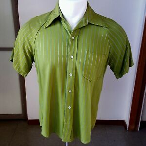 1960s vintage Penny's Towncraft rayon shirt with shiny stripes M