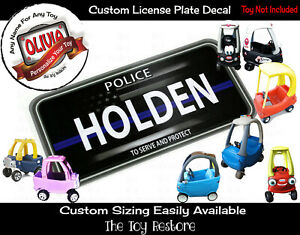 Custom License Plate Decal Sticker Fits Little Tikes Cozy Coupe Car Cop Police