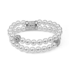 GORGEOUS 18K WHITE GOLD PLATED & GENUINE AUSTRIAN CRYSTAL AND PEARL BRACELET