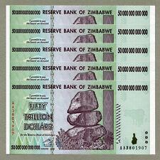 Zimbabwe 50 Trillion Dollars x 5 pcs AA 2008 P90 consecutive UNC currency bills