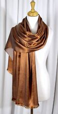 """LARGE AWESOME ANTIQUE GOLD SHIMMERING SILKY PROMO SHAWL WRAP SCARF Sz 25""""x75"""""""