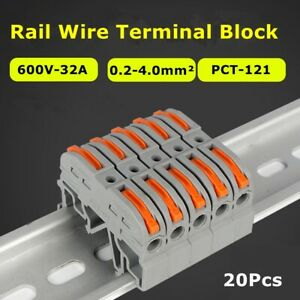 20x Mini Push-In Conductor Din Wiring Compact Rail Wire Connector Terminal Block