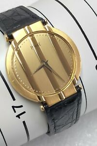PIAGET MENS 18 CT GOLD STRAP WATCH 7673 SERVICED WITH PAPERS 31.2 MM CASE