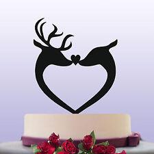 Deer Stag & Doe Bride & Groom Acrylic Wedding Cake Topper Decoration & Keepsake