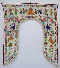 Vintage Door Valance Window Decor Wall Hanging Hand Embroidered 44 x 48 inch X22