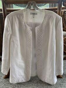 Dress Barn Blazer White L Lace Details
