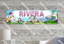Personalized/Customized Phineas and Ferb Name Poster Wall Art Decoration Banner