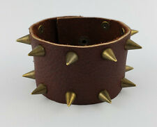 "Bronze Spiked Leather Bracelet 7 1/2"" Fit Size Snap Fitting Rustic Brown #9 Stud"