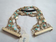 Lucky Brand gold tone 5 strand~turquoise ~ beige stone magnetic bracelet, NWT