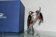 SWAROVSKI SILVER CRYSTAL WOODPECKERS BLACK DIAMOND 957562 MINT & BOXED-SIGNED